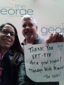 Suzanne attended Tuesdays with Morrie on Jan 23rd 2019 via VetTix
