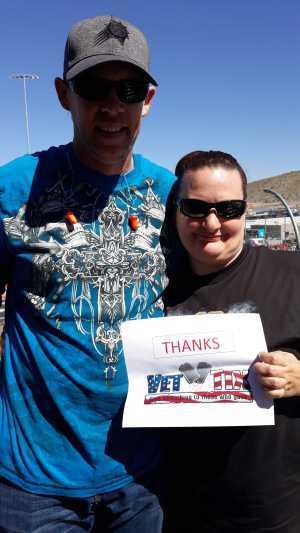 Nancy attended TicketGuardian 500 - KB100 - Kurt Busch Fan Appreciation Tickets on Mar 10th 2019 via VetTix