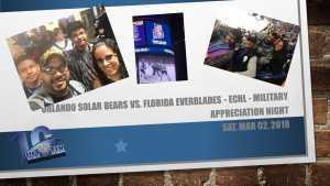 Luis attended Orlando Solar Bears vs. Florida Everblades - ECHL - Military Appreciation Night on Mar 2nd 2019 via VetTix