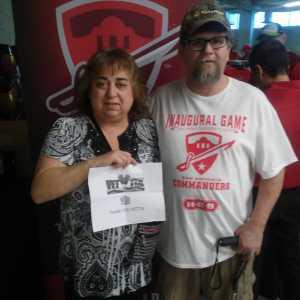 Linda attended San Antonio Commanders vs. Salt Lake Stallions - AAF on Mar 23rd 2019 via VetTix