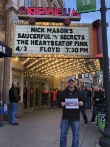 Shawn attended Nick Mason's Saucerful of Secrets - Pop on Apr 3rd 2019 via VetTix