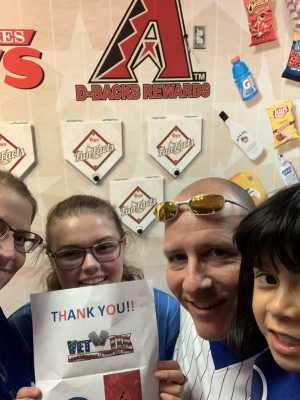 Jeff attended Arizona Diamondbacks vs. Chicago Cubs - MLB on Apr 26th 2019 via VetTix
