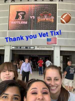 Amanda attended Arizona Rattlers vs. Tucson Sugar Skulls - IFL on Jun 8th 2019 via VetTix