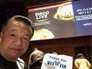 Niko attended Disco Live on May 18th 2019 via VetTix