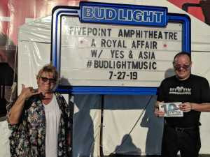Norman attended A Royal Affair Tour With British Rock Bands: Yes, Asia, John Lodge, Palmer's ELP Legacy Live! on Jul 27th 2019 via VetTix