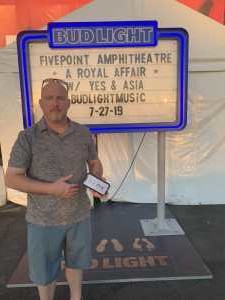 Christopher attended A Royal Affair Tour With British Rock Bands: Yes, Asia, John Lodge, Palmer's ELP Legacy Live! on Jul 27th 2019 via VetTix