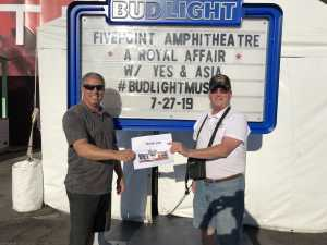 Stephen attended A Royal Affair Tour With British Rock Bands: Yes, Asia, John Lodge, Palmer's ELP Legacy Live! on Jul 27th 2019 via VetTix