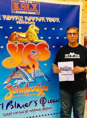 Salvatore attended Yes, Asia, John Lodge, Palmer's ELP Legacy Live! - Pop on Jul 24th 2019 via VetTix