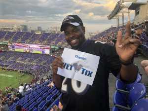 Corey attended Baltimore Ravens vs. Jacksonville Jaguars - NFL on Aug 8th 2019 via VetTix