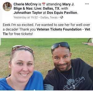 Cherie attended Mary J. Blige & Nas - R&b on Aug 22nd 2019 via VetTix