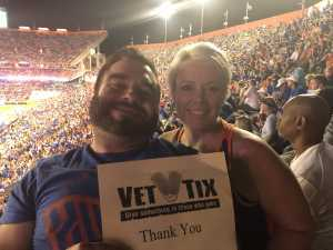 Jeremy / Stephanie attended University of Florida Gators Football vs. University of Tennessee-martin - NCAA Football on Sep 7th 2019 via VetTix
