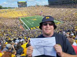 Tobin Styka attended University of Michigan vs. Army - NCAA Football **military Appreciation Game** on Sep 7th 2019 via VetTix