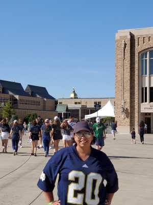 Jennifer attended University of Notre Dame Fightin Irish vs. New Mexico - NCAA Football on Sep 14th 2019 via VetTix