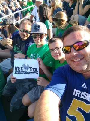 Beau attended University of Notre Dame Fightin Irish vs. New Mexico - NCAA Football on Sep 14th 2019 via VetTix