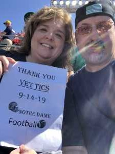 Jeff attended University of Notre Dame Fightin Irish vs. New Mexico - NCAA Football on Sep 14th 2019 via VetTix