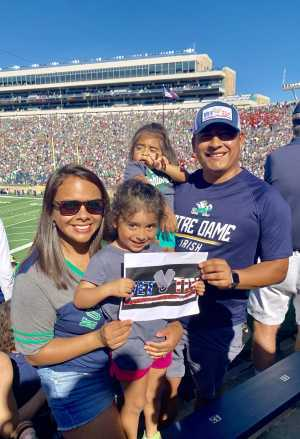 Agustin attended University of Notre Dame Fightin Irish vs. New Mexico - NCAA Football on Sep 14th 2019 via VetTix
