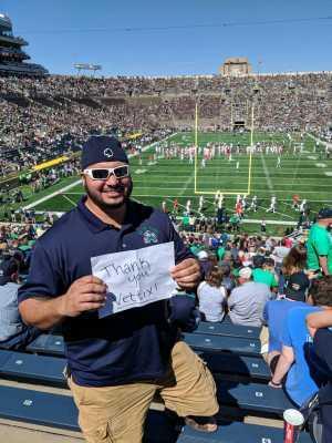 Samuel attended University of Notre Dame Fightin Irish vs. New Mexico - NCAA Football on Sep 14th 2019 via VetTix
