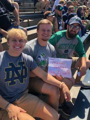 Kevin attended University of Notre Dame Fightin Irish vs. New Mexico - NCAA Football on Sep 14th 2019 via VetTix