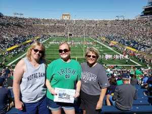 Michelle attended University of Notre Dame Fightin Irish vs. New Mexico - NCAA Football on Sep 14th 2019 via VetTix