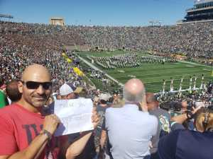 Brian attended University of Notre Dame Fightin Irish vs. New Mexico - NCAA Football on Sep 14th 2019 via VetTix