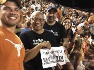 Eric attended University of Texas Longhorns vs. Louisiana Tech - NCAA Football on Aug 31st 2019 via VetTix