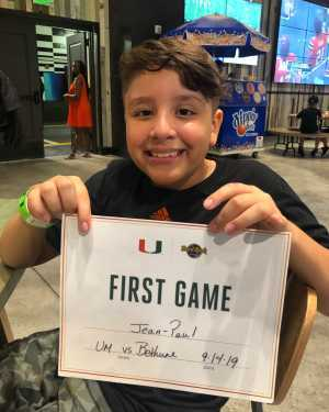 Jean-Paul attended University of Miami Hurricanes vs. Bethune-cookman - NCAA Football on Sep 14th 2019 via VetTix