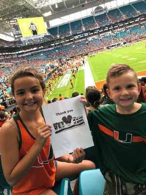 Emily attended University of Miami Hurricanes vs. Bethune-cookman - NCAA Football on Sep 14th 2019 via VetTix
