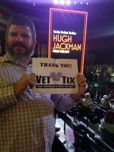 Thomas attended Hugh Jackman: the Man. The Music. The Show. on Oct 12th 2019 via VetTix