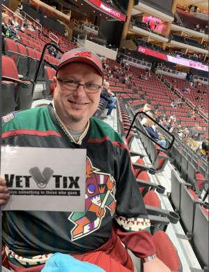 Brad attended Arizona Coyotes vs. Vegas Golden Knights - NHL on Oct 10th 2019 via VetTix
