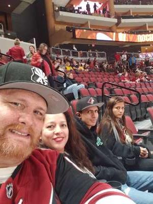 Darryl attended Arizona Coyotes vs. Nashville Predators - NHL on Oct 17th 2019 via VetTix
