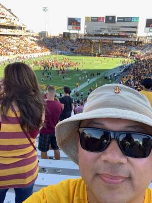 Chin attended Arizona State University Sun Devils vs. WSU - NCAA Football on Oct 12th 2019 via VetTix