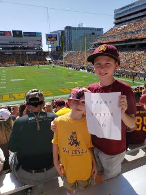 James attended Arizona State University Sun Devils vs. WSU - NCAA Football on Oct 12th 2019 via VetTix