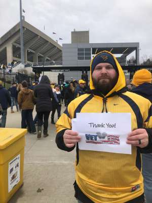 Sheena Faye attended West Virginia Mountaineers vs. Oklahoma State - NCAA Football on Nov 23rd 2019 via VetTix