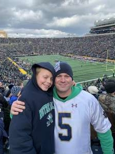 Jeremy attended Notre Dame Fighting Irish vs. Virginia Tech - NCAA Football on Nov 2nd 2019 via VetTix