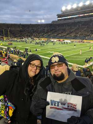 Jeremy attended University of Notre Dame Fighting Irish vs. Navy - NCAA Football on Nov 16th 2019 via VetTix