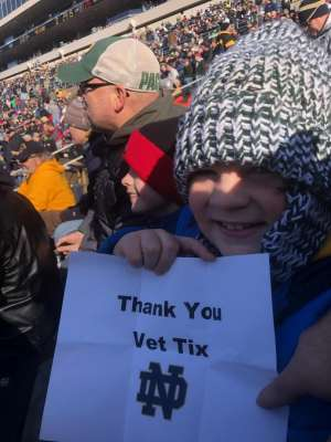 Kevin attended University of Notre Dame Fighting Irish vs. Navy - NCAA Football on Nov 16th 2019 via VetTix