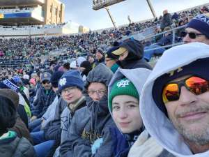 James attended University of Notre Dame Fighting Irish vs. Navy - NCAA Football on Nov 16th 2019 via VetTix