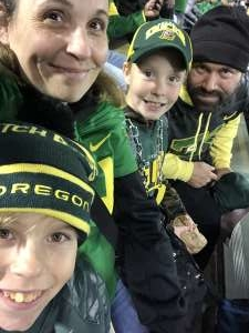 Danielle attended University of Oregon Ducks vs. University of Arizona Wildcats - NCAA Football on Nov 16th 2019 via VetTix