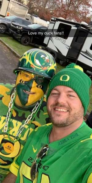 Justin attended University of Oregon Ducks vs. University of Arizona Wildcats - NCAA Football on Nov 16th 2019 via VetTix