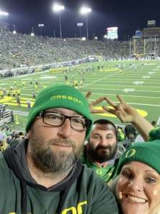 John attended University of Oregon Ducks vs. University of Arizona Wildcats - NCAA Football on Nov 16th 2019 via VetTix