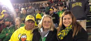 Anna attended University of Oregon Ducks vs. University of Arizona Wildcats - NCAA Football on Nov 16th 2019 via VetTix