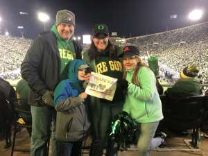 Teri attended University of Oregon Ducks vs. University of Arizona Wildcats - NCAA Football on Nov 16th 2019 via VetTix