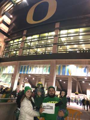 Chancy attended University of Oregon Ducks vs. University of Arizona Wildcats - NCAA Football on Nov 16th 2019 via VetTix