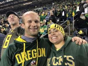 Amy attended University of Oregon Ducks vs. University of Arizona Wildcats - NCAA Football on Nov 16th 2019 via VetTix
