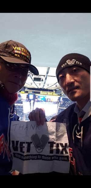 Ryu attended New York Rangers vs. Pittsburgh Penguins - NHL Veteran's Night ** Suite Tickets ** on Nov 12th 2019 via VetTix