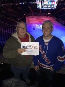 Robert attended New York Rangers vs. Pittsburgh Penguins - NHL Veteran's Night ** Suite Tickets ** on Nov 12th 2019 via VetTix