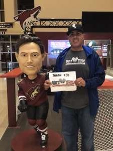 Luis Ortiz attended Arizona Coyotes vs. Toronto Maple Leafs - NHL on Nov 21st 2019 via VetTix