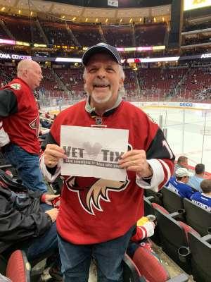 Jack attended Arizona Coyotes vs. Toronto Maple Leafs - NHL on Nov 21st 2019 via VetTix