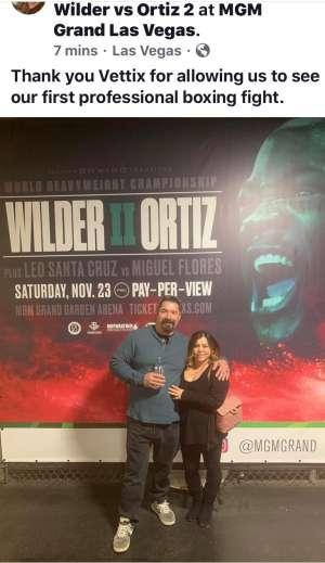 Eugene attended Premier Boxing Champions: Wilder vs. Ortiz II on Nov 23rd 2019 via VetTix