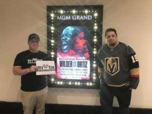 christopher attended Premier Boxing Champions: Wilder vs. Ortiz II on Nov 23rd 2019 via VetTix